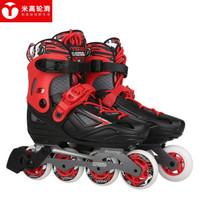 米高溜冰鞋儿童轮滑鞋男女高端平花鞋初学旱冰鞋可调直排轮S3黑色单鞋S码