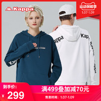 Kappa卡帕串标套头帽衫新款情侣男女落肩卫衣宽松休闲外套(L、黑色-990)