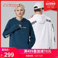 Kappa卡帕串标套头帽衫新款情侣男女落肩卫衣宽松休闲外套(XL、黑色-990)