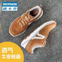 【预售】迪卡侬运动鞋女鞋复古皮面防滑情侣鞋子feel(35、藏青)