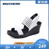skechers斯凯奇新款休闲鞋 一字带坡跟凉鞋 舒适松紧女鞋 38472(35.5、黑色)
