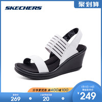 skechers斯凱奇新款休閑鞋 一字帶坡跟涼鞋 舒適松緊女鞋 38472(38.5、黑色)