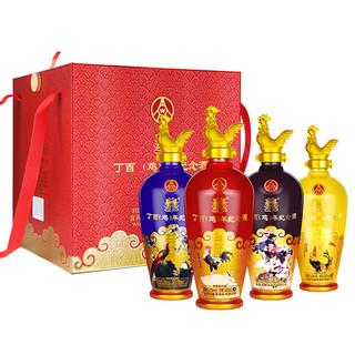 WULIANGYE 五粮液 出品 丁酉鸡年生肖纪念酒 52度 浓香型白酒 500ml*4瓶收藏礼盒 整箱装