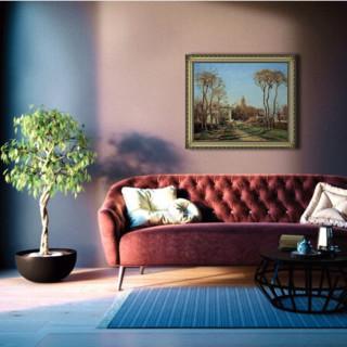 毕沙罗 风景油画《进入村庄》 沙发背景墙装饰画 典雅栗 63×54cm