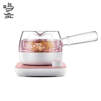 鸣盏 养生壶煮茶器煮茶壶迷你玻璃花茶壶热水壶烧水壶电热水壶侧把壶 MZ-072T 红梅色