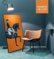 装饰画美式走廊过道马大竖版骑士北欧轻奢软装黄橙色墙画