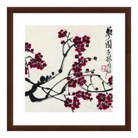 水墨画《红梅图》装饰画 沙发背景墙 深褐色 47×47cm
