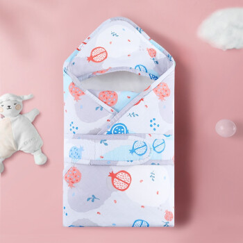 象宝宝(elepbaby)婴儿抱被秋冬款新生儿宝宝夹棉保暖防惊跳睡袋防踢被襁褓包被包巾水果切切80*80CM *2件