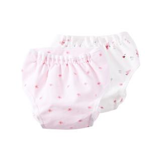 全棉时代 婴儿纱布复合隔尿裤初生宝宝纯棉尿片超薄透气尿布可洗 2件装 粉色小花朵+粉兔瓢虫 59cm *5件