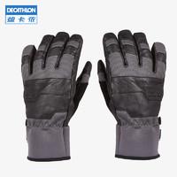 迪卡儂 秋冬戶外滑雪手套 男 女 羊皮保暖防水滑雪手套WEDZE3(M、灰色)