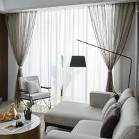 sunpathie2021年新款轻奢北欧简约纱帘透光透气窗纱客厅阳台月影