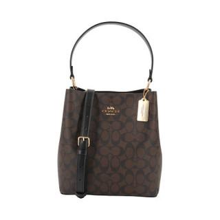蔻驰 COACH 奢侈品 女士中号单肩斜挎水桶包深棕色PVC 91512 IMAA8 *2件