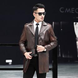 罗蒙2020新品首发休闲时尚复古绵羊皮中长长款男士真皮皮衣