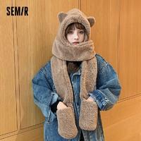 森马围巾女冬季小熊耳朵韩版可爱毛绒保暖手套潮加厚帽子围脖一体