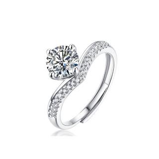阿玛莎1克拉莫桑钻戒爱的承诺公主皇冠边钻创意款镶嵌d色VVS莫桑石开口s925银定制银戒指女
