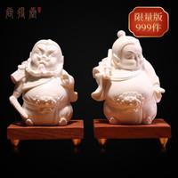 尚得堂陶瓷手工雕塑 德化白瓷 玄关客厅办公室 创意摆件 门神 *2件
