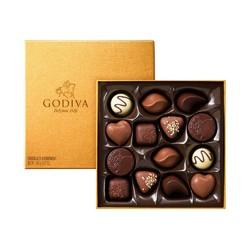 下单立减20元 比利时进口Godiva歌帝梵精选口味金色礼盒巧克力14粒520情人送礼