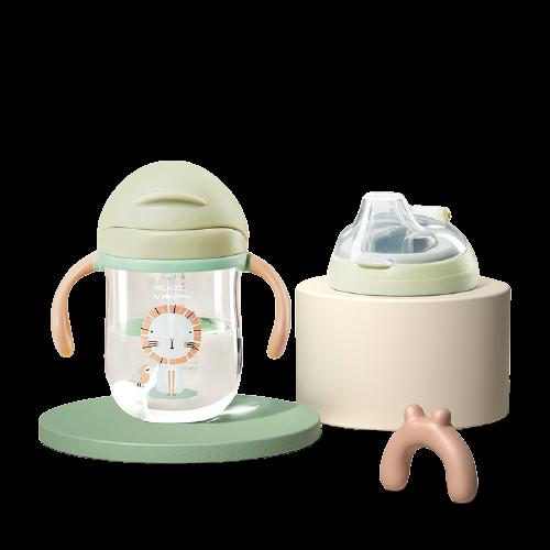 babycare 吸管杯婴儿6-12个月 重力球学饮杯防漏耐摔儿童水杯水壶宝宝喝水杯1-3岁 淡藻绿240ml双杯盖(吸管+鸭嘴)