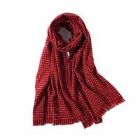 羚羊早安 wh178 格子针织围巾