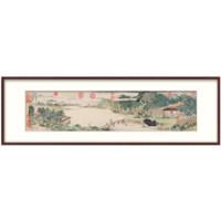 中式裝飾畫國畫 辦公室山水畫掛畫 名家字畫 上睿攜琴訪友圖