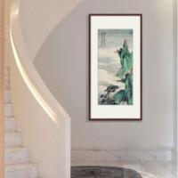 山水國畫 有框 裝飾畫 辦公室名家字畫 青綠山水圖