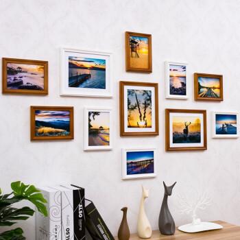 嘉恒艺 实木照片墙欧式线条相框 客厅餐厅卧室相片墙11框挂墙相框墙创意组合 白色咖啡色+落日余晖