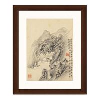 水墨画《空山松泉图》华嵒 背景墙装饰 茶褐色 36×44cm