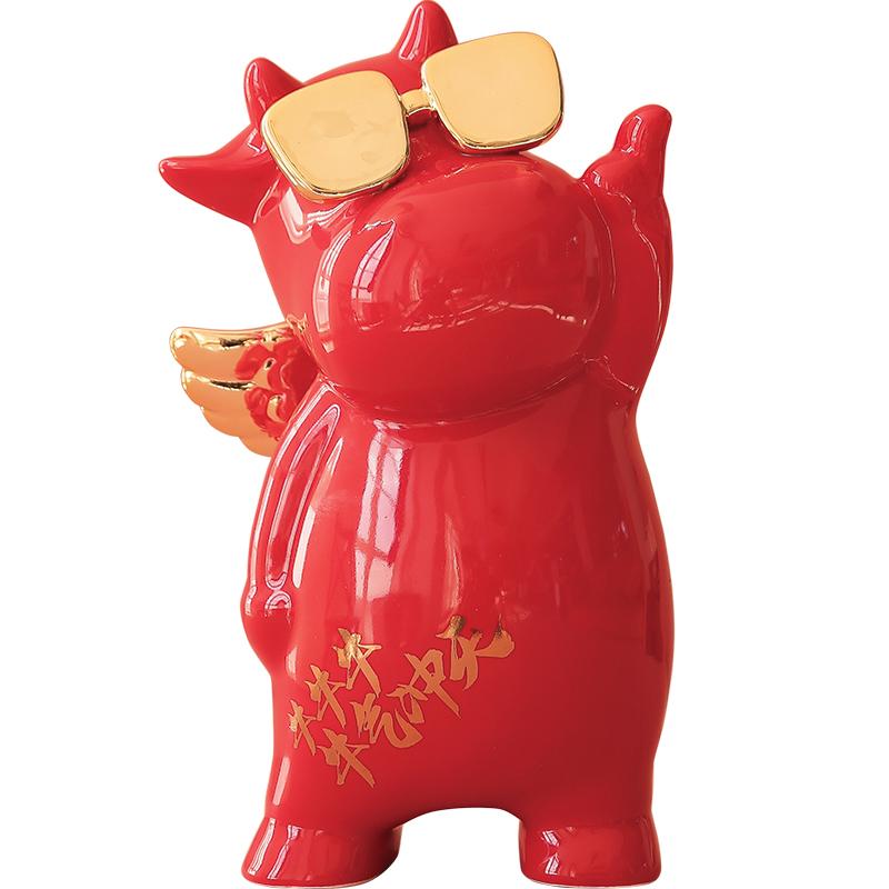 牛气冲天存钱罐春节储蓄罐摆件吉祥物生肖新年礼物牛年家居装饰品