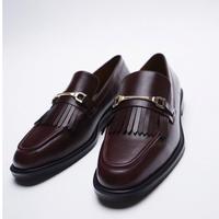 ZARA女鞋绛红色流苏装饰平底船鞋乐福鞋12517610022