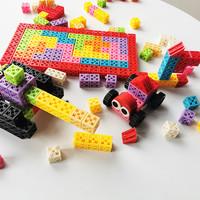 欢想 益智拼插方块积木 五色50颗粒收纳盒装
