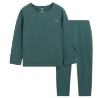 Miiow 猫人 儿童圆领保暖秋衣裤套装 暗绿色 150cm
