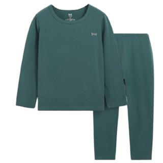 Miiow 猫人  儿童圆领保暖秋衣裤套装 暗绿 150cm