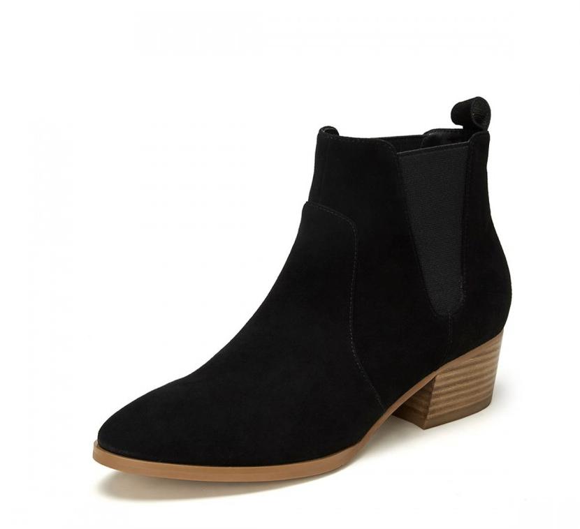 BASTO 百思图 女士短筒切尔西靴 A6801DD9 黑色 35