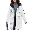 YALU 雅鹿 女士白鸭绒拉链连帽加厚中长款羽绒服外套Y8001A02910 白色 S