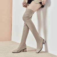Five Plus 2RV4511890870 女士粗跟加绒过膝长筒靴