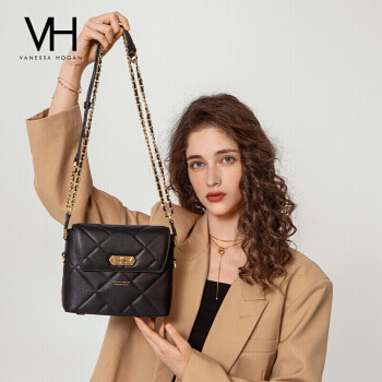 VH包包轻奢女包潮流行方包奢侈品时尚菱格个性质感链条牛皮单肩包洋气斜挎包 2004166BLA 黑色