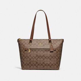 蔻驰 COACH 奢侈品 女士大号托特包手提单肩卡其棕色PVC F79609 IME74