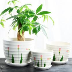 仟尚亿 陶瓷花盆 清新绿叶 三件套 *4件