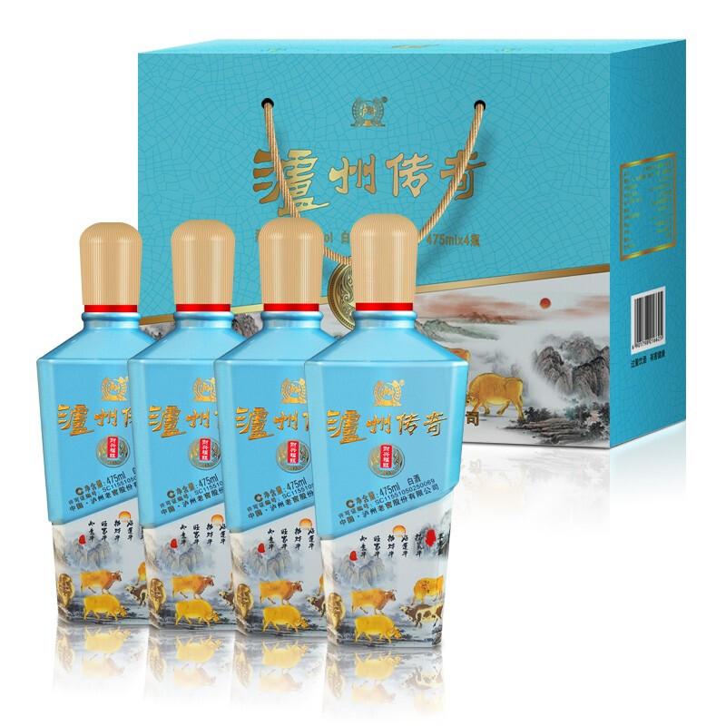 LUZHOULAOJIAO 泸州老窖 泸州传奇 财兴福旺 52%vol 浓香型白酒 475ml*4瓶 礼盒装
