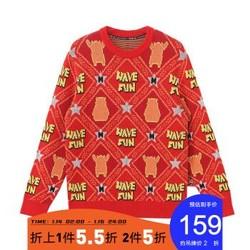 马克华菲熊本熊联名款夹毛衣2020秋季新款羊毛套头提花时尚毛衫 304黑花色 180/XL *2件