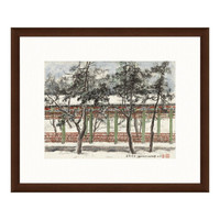 水墨画《长廊积雪》关山月 背景墙装饰画挂画 茶褐色 54×65cm