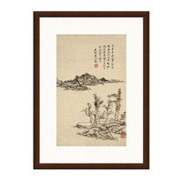 风景水墨画《溪岸图》王原祁 背景墙装饰画 茶褐色 55×75cm