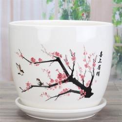 裕轩堂 陶瓷花盆带托盘 14cm