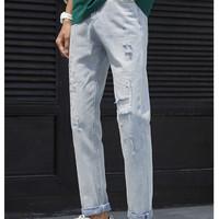 MARK FAIRWHALE 马克华菲 7191021017900561 直筒浅色纯棉牛仔裤