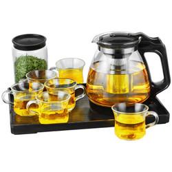 紫丁香 整套耐热加厚玻璃茶具套装家用功夫茶杯具花茶壶茶杯套装过滤带茶盘(九件套)WJ8122 *3件
