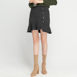 女装冬季裙子时尚复古条纹荷叶边高腰短裙半身裙女