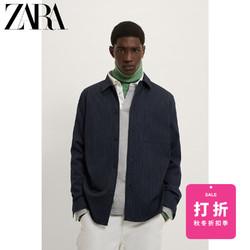 ZARA新款 男装 冬季条纹衬衫式夹克外套 00706177802