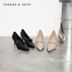 CHARLES&KEITH2021春季女士蝴蝶结饰尖头高跟单鞋