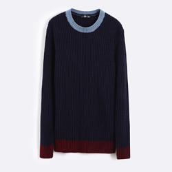 唐狮毛衣针织衫冬装新款男圆领领口下摆撞色韩版男生套头线衣_藏青,XL *2件