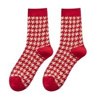 星美郎    女士中筒袜子  红色3双